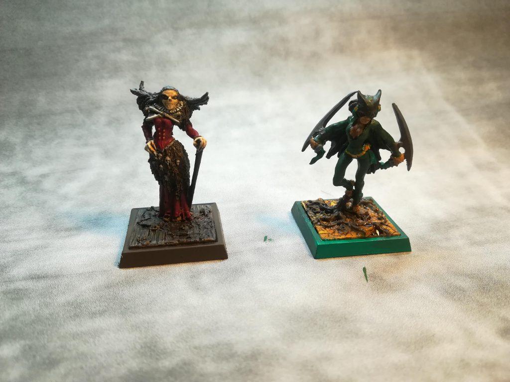 Johanna Weiß und Tzinaka von Freebooter's Miniatures, bemalt von Michael und Fenja